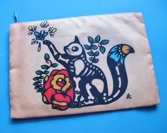 Day of the Dead CAT Purse Clutch Cosmetic Bag Makeup Case Pouch