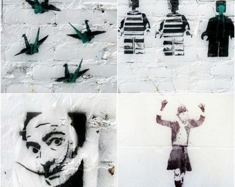 Graffiti Photography Set, 5x5 inch Black and White Urban Street Art Prints, Dali, Wall Art