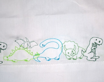 Dinosaur Embroidered Pillowcase