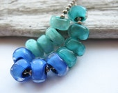 cool jewels  - mini nugget beads with hand shaped facets  //   handmade glass lampwork beads // Ellen Dooley SRA