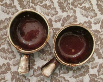 Two McCoy Pottery Soup/Chili Bowls - Brown Drip