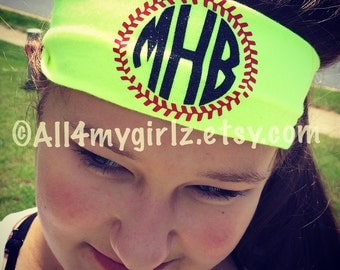 Personalized monogram Stretch Headband Monogram Baseball Softball Monogram