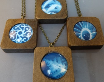Blue hebe, sun print, negative, cyanotype, wooden, earthy nature necklace.