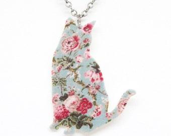 Blue Floral Cat Necklace