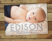 Modern birth announcement, baby photo card, custom baby announcement, personalized thank you for baby gifts, baby boy or baby girl