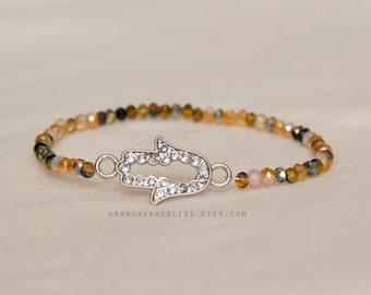 Hamsa bracelet, hamsa charm, hamesh jewelry, hand bracelet, statement jewelry, stackable jewelry, evileye bracelet, Hand of Fatima bracelet