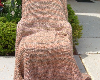Super Sale -Sierra Garter Stitch - 73 inch x 78 inch Afghan, Blanket, Throw - FREE SHIPPING