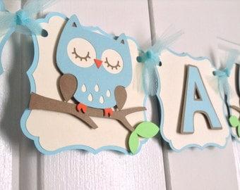 Owl Banner- Blue