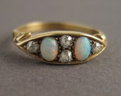 """Opal and Old Mine Cut Diamond 18k Gold Antique Victorian Ring - """"Boat Ring"""""""