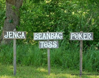 Lawn Games Signs, Jenga Sign, Beanbag Toss Sign, Poker Sign, Yahtzee Sign, Reception Yard Signs, Wedding Signs, Party Signs, Backyard Signs