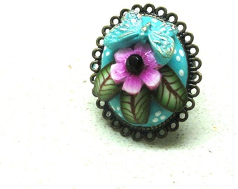 Jewelry ring flower adjustable ring handmade polymer clay ring