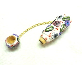 Women accessories-Decorated needle case handmade of polymer clay