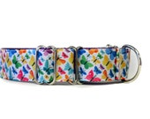 Wide 1 1/2 inch Adjustable Buckle or Martingale Dog Collar in Butterlies