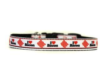 Dog Collar in 5/8 or 3/4 Inch Wide with Adjustable Buckle or Martingale in I Love Bacon