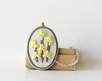 Forsythia necklace, embroidered pendant, spring flowers jewelry, yellow flowers necklace, silk ribbon embroidery