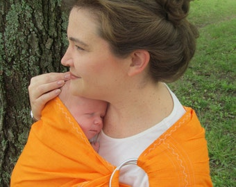 Linen Ring Sling - Decorative Stitching - Baby Carrier - 100% LINEN in Flame Orange, Tangerine DVD included, toddler sling, baby shower gift
