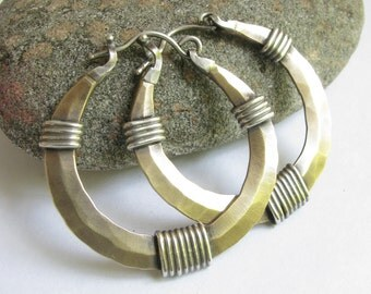 Large Hoops, Bronze Hoop Earrings, Argentium Sterling Silver And Bronze Earrings, Rustic Mixed Metal Earrings, Big Metalwork Earrings