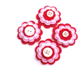 Red, Pink White Felt Flowers Scrapbooking Card Making Embellishments, Set of 4, White Button Centers
