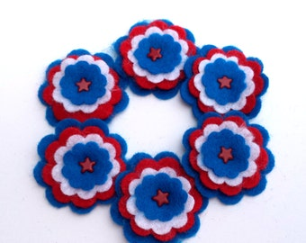 Felt Flowers, Red, White, and Royal Blue with a Red Star Shaped Brad, Scrapbook Embellishments, Card Making, Hair Accessories