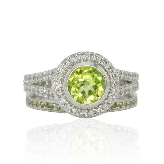 Wedding ring set lime green peridot and diamond split shank for Peridot wedding ring set