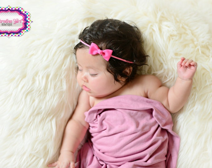 Hot Pink Newborn Headband - Small Headband Hot Pink Tiny Bow on Skinny Elastic - Girls Hair Bows