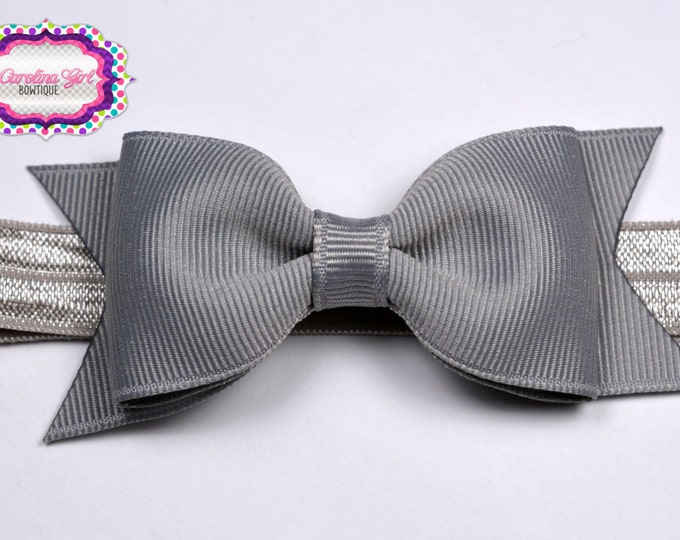 "Millenium Silver Tuxedo Bow Headband~ 3.5"" Hairbow~ Small Hair Bow~ Girls Headband~ Toddler Bow ~ Baby Hair Bow ~ Hair Clip ~ Girls Hair Bow"