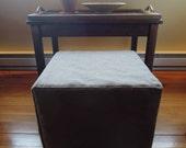 Cotton Twill Ottoman Slipcovers, Cotton, Up to 20x20x16, Custom, Cube, Joy3