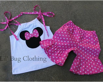 Custom Pink Boutique Minnie Mouse Short set 3m 6m 9m  12m  18m  24 2 3 4 5 6 7 8 9 10