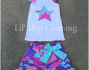 Custom Boutique Army Camouflage Short And Halter Top Summer Outfit Pink Purple Teal