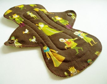 "9.5"" Regular Cotton Cloth Menstrual Pad, Woodland Medieval Villagers Brown Green Dots, Incontinence Pad, Flared Contoured Pad, Cloth Sanpro"
