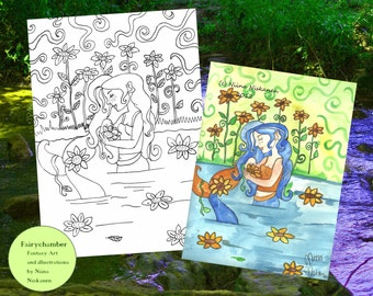 Sunflower Mermaid - Digital Stamp -Instant Download - Coloring Page - Lineart for arts and crafts -by Niina Niskanen