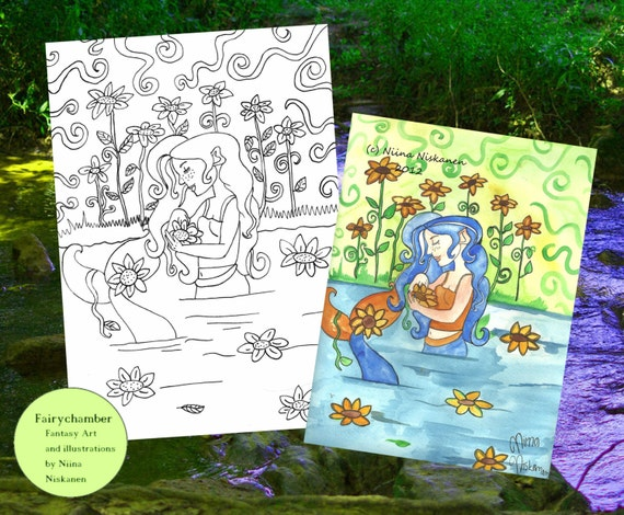 Sunflower mermaid digital stamp instant download coloring for Mermaid arts and crafts