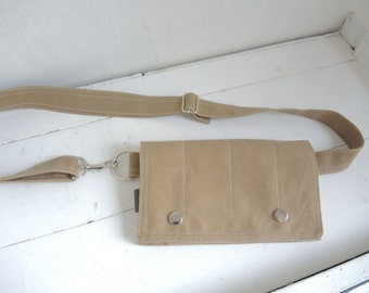 modern fanny pack Field tan waxed canvas birds Utility smart phone mini messenger waist wallet MINI messenger Festival Travel minimal