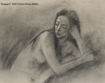 Original charcoal drawing -- CLASSIC FACE -- female portrait study by Diana Moses Botkin
