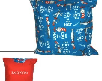 PERSONALIZED NAPTIME PILLOW - Made from Cat in the Hat Fabric - Great for Travel & Car Trips!
