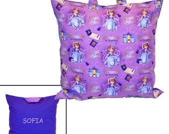 PILLOW for LITTLE GIRL - Personalized! - Made From Princess Sofia the First Fabric - Great for Travel & Car Trips!