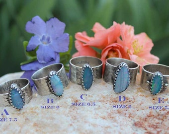 Australian OPAL Cabochon Sterling Silver Wide band hammered Rings, rustic, artisan, metalwork, handmade, Boho, Bohemian