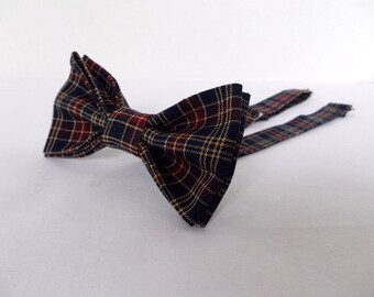 Plaid Bow Tie Bowtie - Pretied Pre Tied- Adult - Boys - Baby - Toddler - Formal Casual Wedding - Navy Blue Red Tan Plaid - Doctor Who Geek