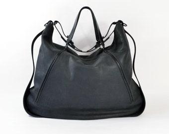 Lucie - Handmade Matt Black Leather Tote Shoulder Bag