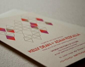 Wedding Invitation Sample, Mid Century Modern Diamonds, Chic Geometric