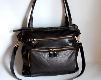 Willow leather tote in black // gold