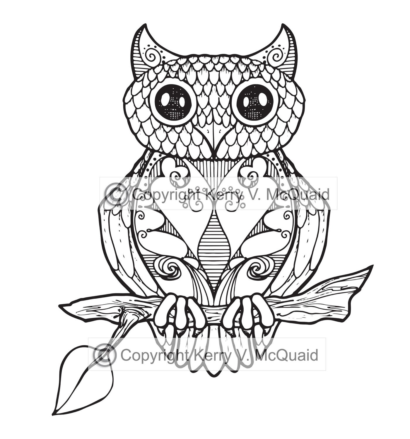 Owl Instant PDF Download Coloring Page Hand Drawn Zendoodle
