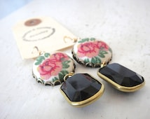 Pink Rose Floral Fabric Button Earrings with Vintage Black Channel Drops