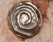 Spiral Sterling Silver Button Clasp, Metal Button