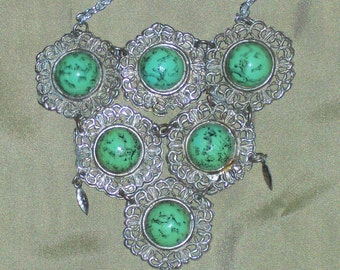 Jerusalem marked triangle stone necklace faux eliat stone necklace made in Jerusalem green and black stone silver fillagree necklace
