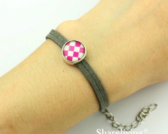 4pcs Rope bracelet With 12mm Round Silver Cameo Setting, Adjustable, Multi-Color Choosing