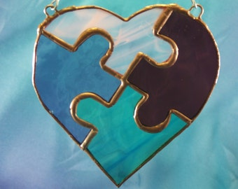 Handmade Stained Glass Autism Puzzle Heart Suncatcher