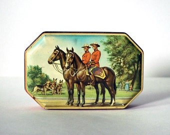 Vintage Tin Box Canadian Mounties Horner Toffee Tin, circa 1960s Storage Container Retro Collectibles Metal Candy Box Horses Red Uniform