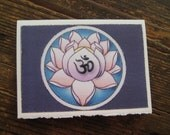 OM symbol on pink Lotus Blossom 5x7 notecard
