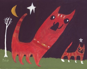 Orange Cats Art Painting - Whimsical Naive Raw Folk Cat Decor Artwork - Ginger Red Cat Tabby at Night Moon and Stars